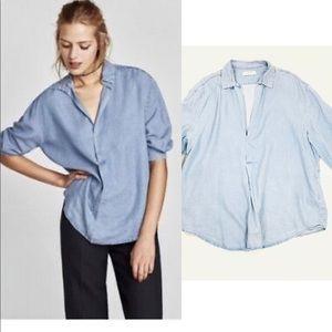 Zara Woman Premium Denim Collection Soft Chambray